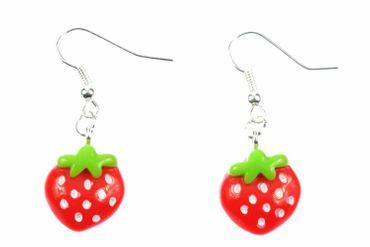 Erdbeere Ohrringe Hänger Miniblings Erdbeerohrringe Erdbeer Beere flach rot