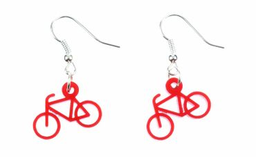 Bicycle Earrings Miniblings Racing Bike Cycling Sports Acrylic Red