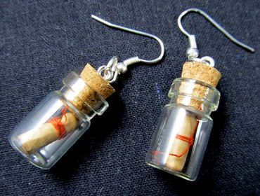 Bottle Earrings Miniblings Glass Your Own Message in a Bootle Valentine – Bild 5