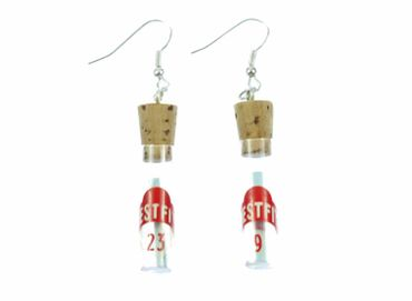 Bottle Earrings Miniblings Secret Treasure Map Message in a Bottle Retro Red – Bild 1