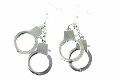 Handcuffs Earrings Miniblings Police Handcuffs Shackles XL – Bild 2