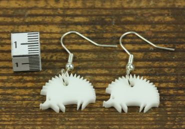Earrings Miniblings Hedgehog Animals Garden Acrylic White 20mm – Bild 4