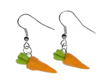 Carrot Carrots Earrings Miniblings Bunny Rabbit Vegetables 3D Orange Root Vegetables – Bild 1
