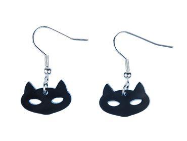 Katze Ohrringe Katzenkopf  Miniblings Katzen Katzenohrringe Kopf Acrylglas schwz – Bild 1