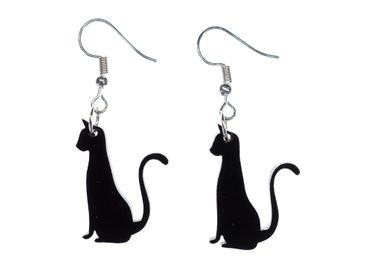 Cat Earrings Miniblings Cats Earrings Acrylic Black Sitting – Bild 1