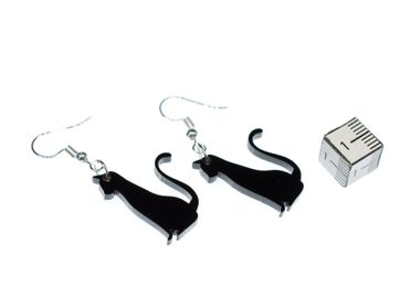 Cat Earrings Miniblings Cats Earrings Acrylic Black Sitting – Bild 2