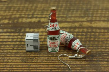 Ketchup Bottle Earrings Miniblings Bbq Fast Food Kitchen Fries – Bild 2