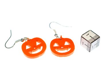 Pumpkin Earrings Miniblings Halloween Pumpkin Acrylic Orange 30mm Jack O Lantern – Bild 2