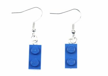 Lego Earrings Miniblings Play Games Upcycling Lego Double Plate Blue – Bild 1