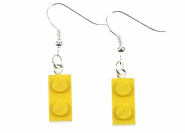Lego Earrings Miniblings Play Games Upcycling Lego Double Plate Yellow – Bild 1