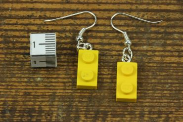 Lego Earrings Miniblings Play Games Upcycling Lego Double Plate Yellow – Bild 2