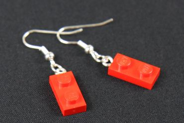 Lego Earrings Miniblings Play Games Upcycling Lego Double Plate Red – Bild 2