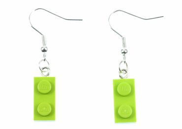 Lego Earrings Miniblings Play Games Upcycling Apple Green Lego Plates – Bild 1