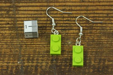 Lego Earrings Miniblings Play Games Upcycling Apple Green Lego Plates – Bild 2