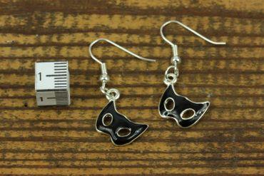 Mask Earrings Miniblings Masks Masked Ball Opera Costume Black Phantom – Bild 2
