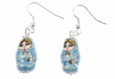 Matryoshka Earrings Miniblings Babuschka Matryoshkarussian Doll Porcelain Ceramic Blue – Bild 1