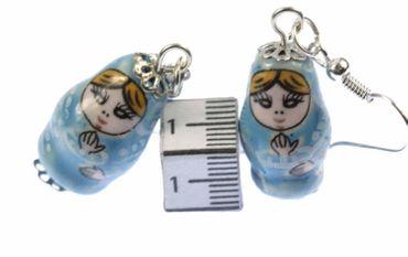 Matryoshka Earrings Miniblings Babuschka Matryoshkarussian Doll Porcelain Ceramic Blue – Bild 3