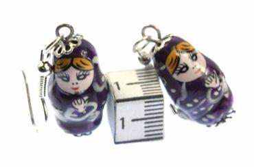 Matryoshka Earrings Miniblings Babuschka Matryoshkarussian Doll Porcelain Ceramic Purple – Bild 2