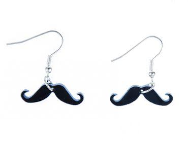 Moustache Ohrringe Miniblings Hänger Schnurrbart Bart Schnauzer Acrylglas schw – Bild 1