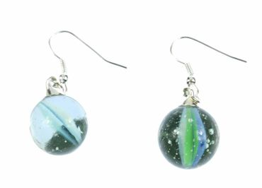 Marble Earrings Miniblings Glass Bead Glass Ball Ball Game Clickers Glass – Bild 1