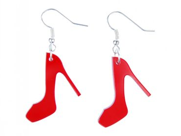 Pumps Earrings Miniblings Shoes Heels Fashion Acrylic Red – Bild 1