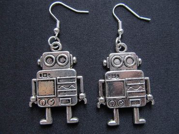 Robot Earrings Miniblings Robot Computer Machine Robot Earrings XL – Bild 1