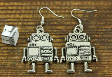 Robot Earrings Miniblings Robot Computer Machine Robot Earrings XL – Bild 3