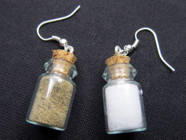 Salt Pepper In A Glas Earrings Miniblings Storage Jar Spices Camping – Bild 3