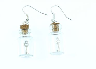 Key In A Glass Earrings Miniblings Storage Jar Secret Valentines Day – Bild 3