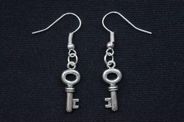 Schlüssel Ohrringe Miniblings Hänger Schlüsselohrringe Geheimnis rund silber – Bild 1
