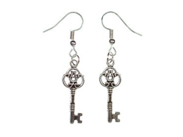 Key Earrings Miniblings Key Earrings Ecret Ornamented Silver – Bild 4