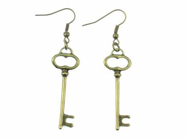 Key Earrings Miniblings Key Earrings Key Secret Bronze
