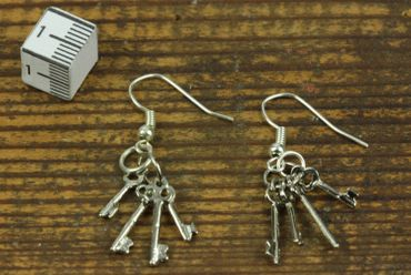 Key Chain Earrings Miniblings Key Key Earrings Silver – Bild 2