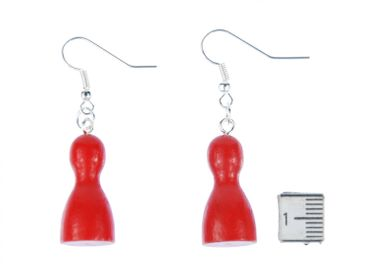 Play Figure Figures Figurines Earrings Miniblings Board Game Ludo Red – Bild 2