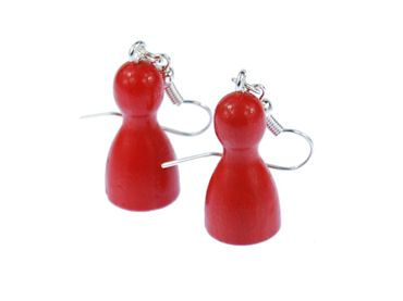 Play Figure Figures Figurines Earrings Miniblings Board Game Ludo Red  – Bild 3