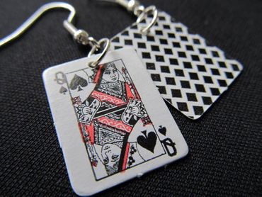 Playing Cards Earrings Miniblings Skat Casino Card Game 1St Black – Bild 4
