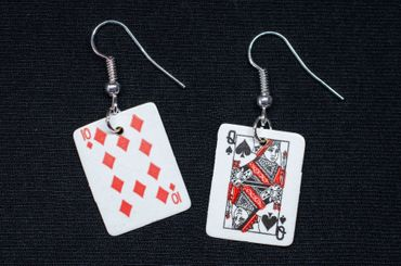Playing Cards Earrings Miniblings Skat Casino Card Game 1St Black – Bild 1