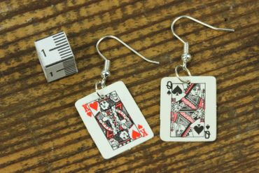 Playing Cards Earrings Miniblings Skat Casino Card Game 1St Black – Bild 5