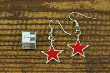 Stern Sterne Ohrringe Hänger Miniblings Weihnachten Star Emaille rot Ché Kuba – Bild 2