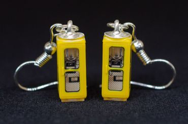 Phone Booth Earrings Miniblings Telephone Phone Booth Retro Yellow 3D – Bild 1