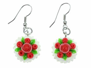 Pie Round Earrings Birthday Miniblings Rose Wedding Cake Roses 3D White – Bild 1
