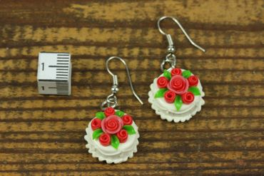 Pie Round Earrings Birthday Miniblings Rose Wedding Cake Roses 3D White – Bild 2