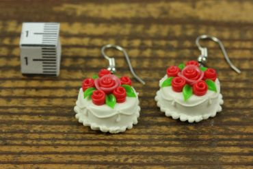 Pie Round Earrings Birthday Miniblings Rose Wedding Cake Roses 3D White – Bild 4