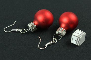 Weihnachtsbaumkugel Ohrringe Miniblings Christbaumkugel Weihnachten rot matt – Bild 2