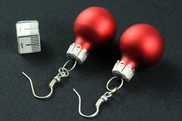 Christmas Bulb Earrings Miniblings Christmas Tree Ball Christmas Red Matt – Bild 4