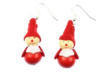 Wichtel Ohrringe Hänger Miniblings Weihnachten Holzfigur Weihnachtsmann Nikolaus