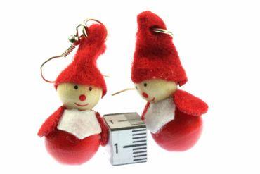 Wichtel Ohrringe Hänger Miniblings Weihnachten Holzfigur Weihnachtsmann Nikolaus – Bild 3