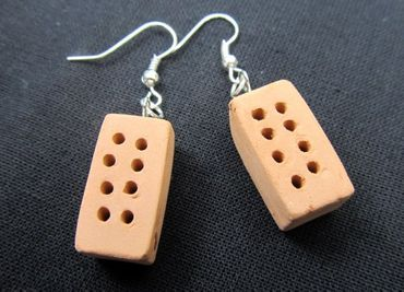 Brick Earrings Miniblings Stone Bricks House Mason Wall – Bild 3
