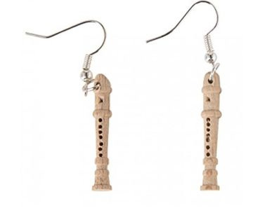 Flute Earrings Miniblings Flute Music Christmas Children Wood – Bild 1