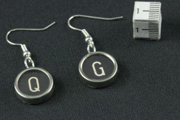 Antike Schreibmaschine: Buchstaben Ohrringe Miniblings Vintage Initalen Tastenschwarz D+? – Bild 4